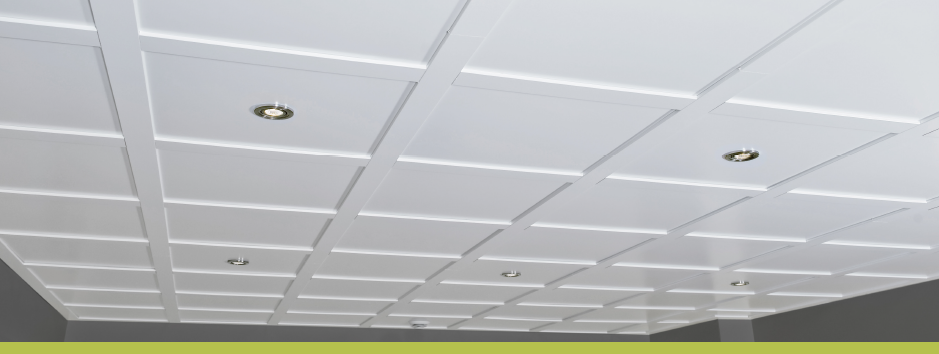 A Embassy Ceilings's suspended ceiling system installed with pot lights.