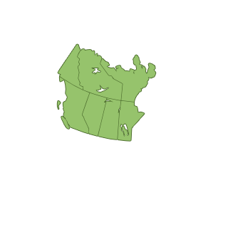 A grey map highligting the west provinces in Canada.